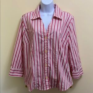 Bass Pink and White Striped Stretch Top size XL